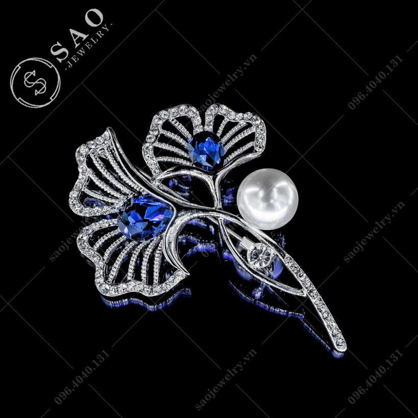Cài áo bông hoa pha lê xanh SAO - C28