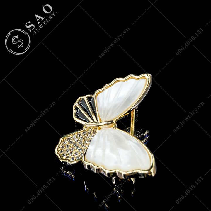 Cài áo nữ bướm phối vỏ sò thanh lịch SAO - C713