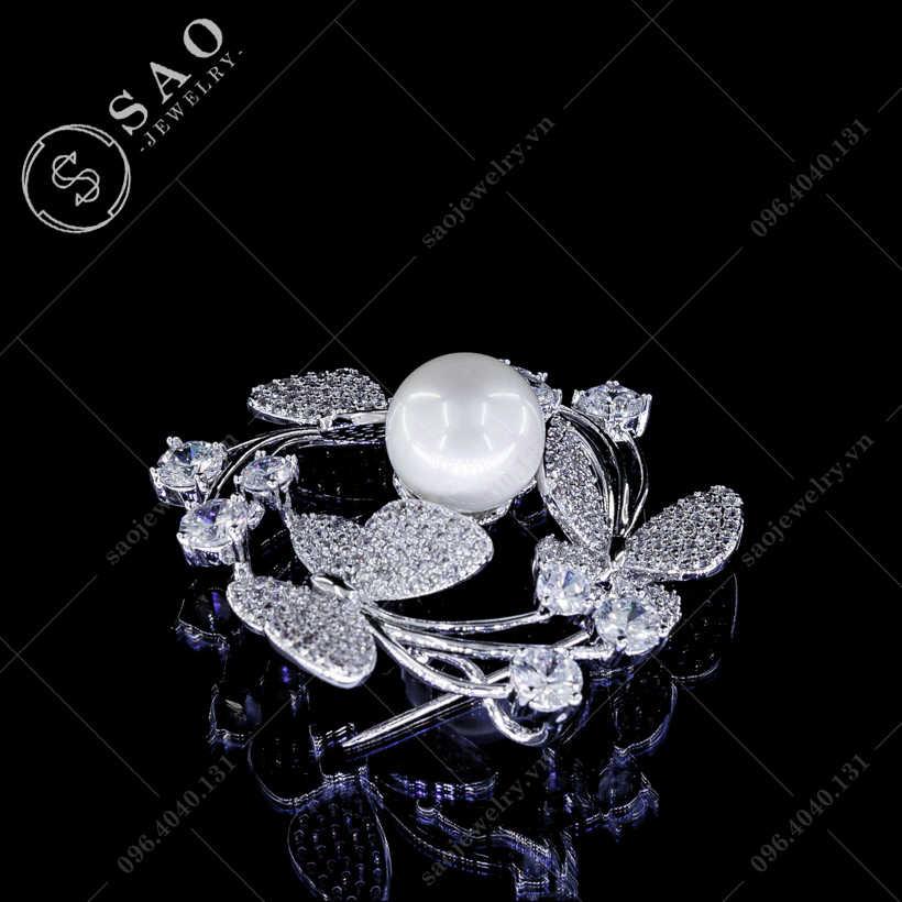 Cài áo bướm xoay ngọc cao cấp SAO - C230