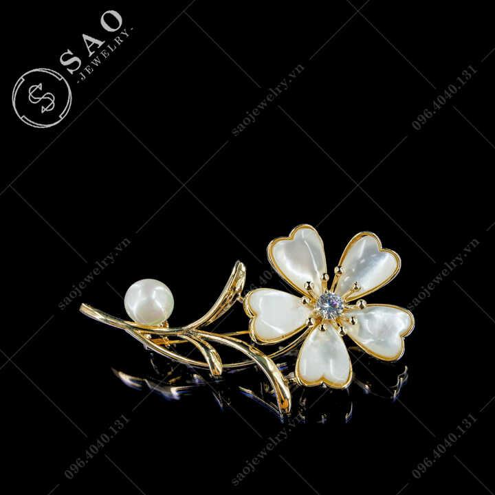 Cài áo nữ cành hoa vỏ sò hàn quốc SAO - C710