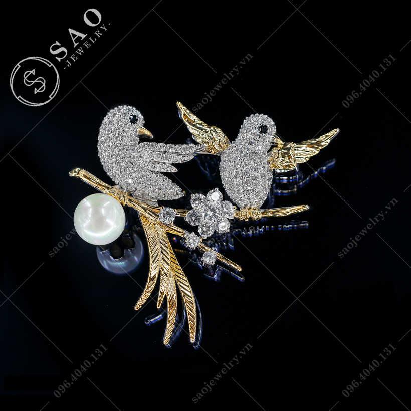 Cài áo đôi chim cao cấp SAO - C377