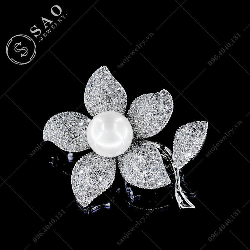 Cài áo hoa mai đính đá cao cấp SAO - C19