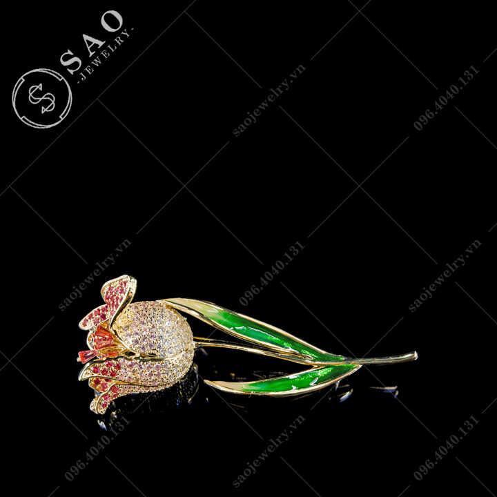 Cài áo nữ hoa Tulip phối màu hàn quốc SAO - C708