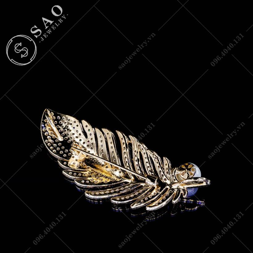 Cài áo lông vũ đính ngọc hàn quốc SAO - C44