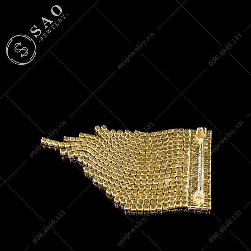 Cài áo nữ tua rua đính pha lê hàn quốc SAO - C306