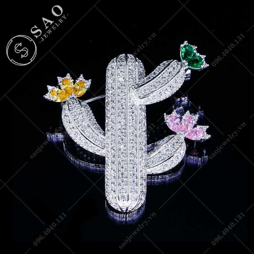 Cài áo xương rồng nở hoa cao cấp SAO - C121