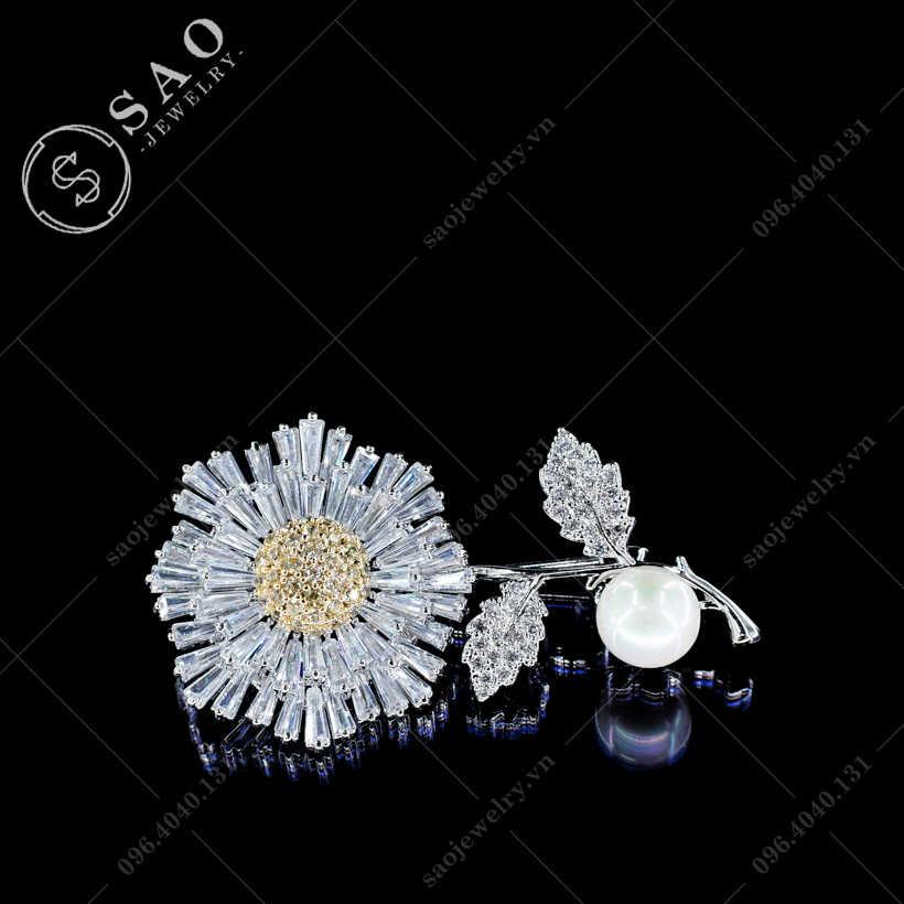 Hoa cài áo cúc pha lê cao cấp SAO - C407