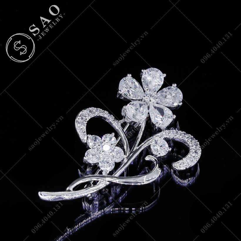 Hoa cài áo đính đá hàn quốc SAO - C125