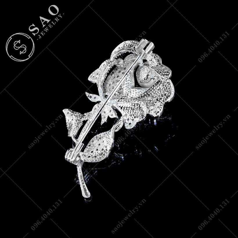 Hoa cài áo hồng bạc đính ngọc cao cấp SAO - C448