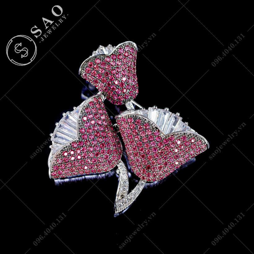 Hoa cài áo ly hồng cao cấp SAO - C372