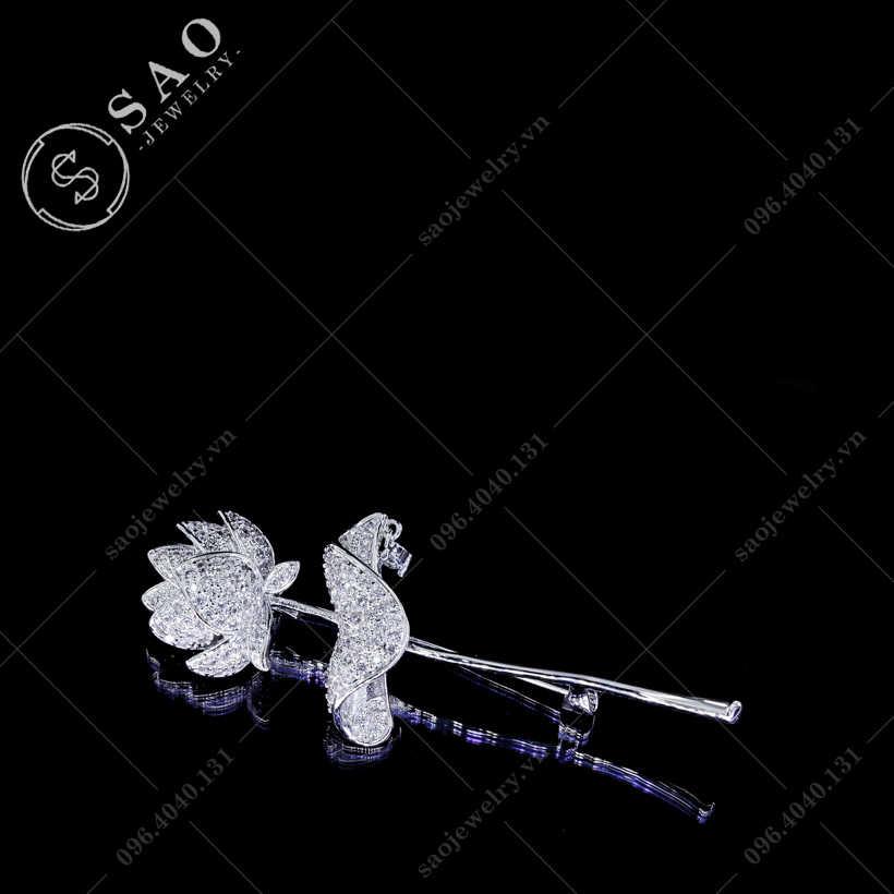 Hoa cài áo sen đính đá zircon cao cấp SAO - C98