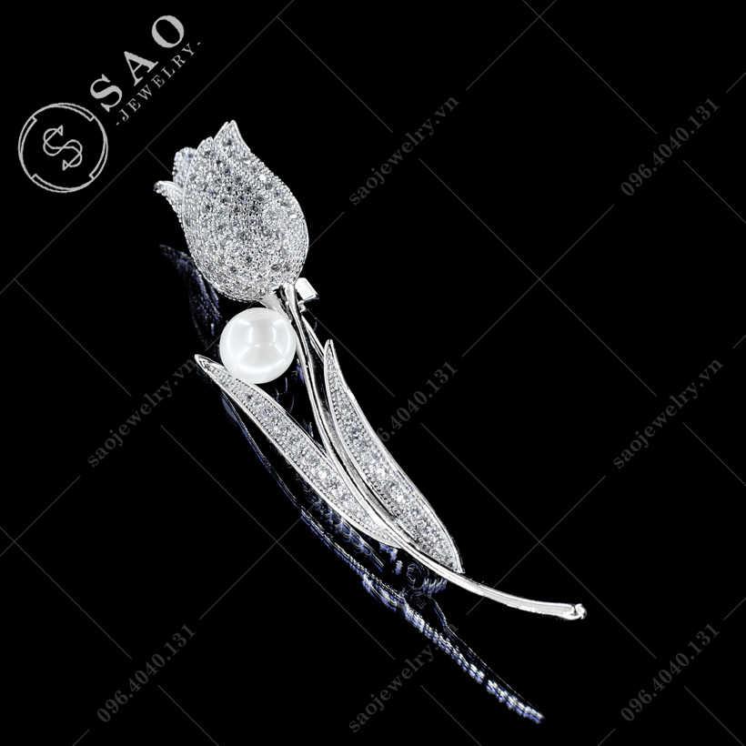 Hoa cài áo Tulip đá zircon cao cấp SAO - C404