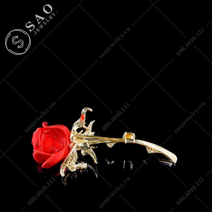 Hoa hồng cài áo nữ đính đá hàn quốc SAO - C699
